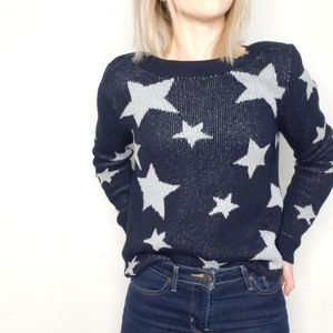 Marled Navy Blue Star Print Boat Neck Knit Sweater